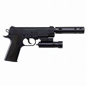 Crosman 1911 Bb Pistol With Mock Silencer And Laser Sight