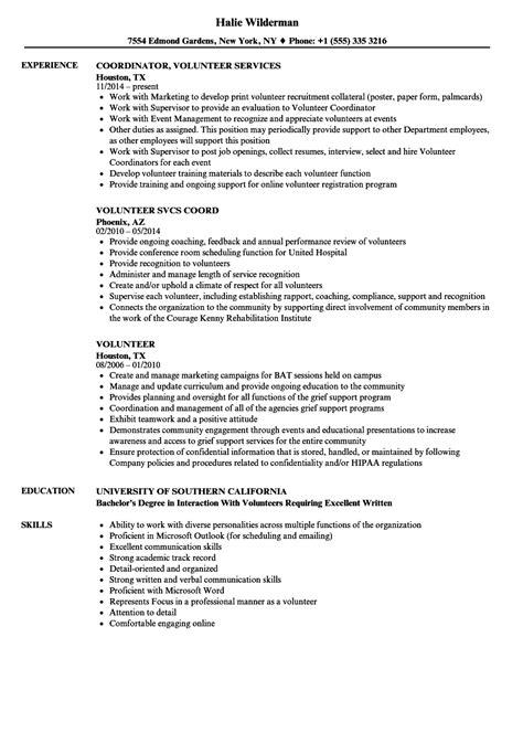 volunteer resume sles velvet