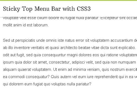 Sticky Top Bar by Sticky Top Menu Bar With Css3 Free Jquery Plugins