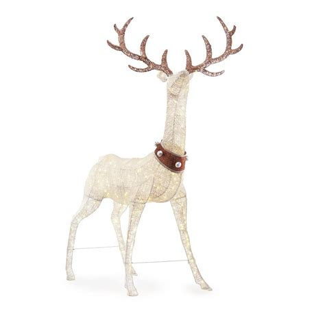 images of christmas lite deers outside home accents 103 in 320l led pvc standing deer with jingle bell collar ty443 1711 5