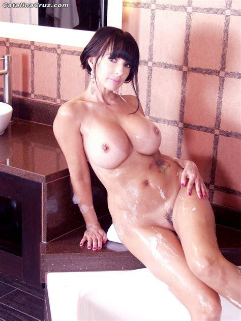 Catalina Cruz Hot Bubble Bath playing with Her Big Tits