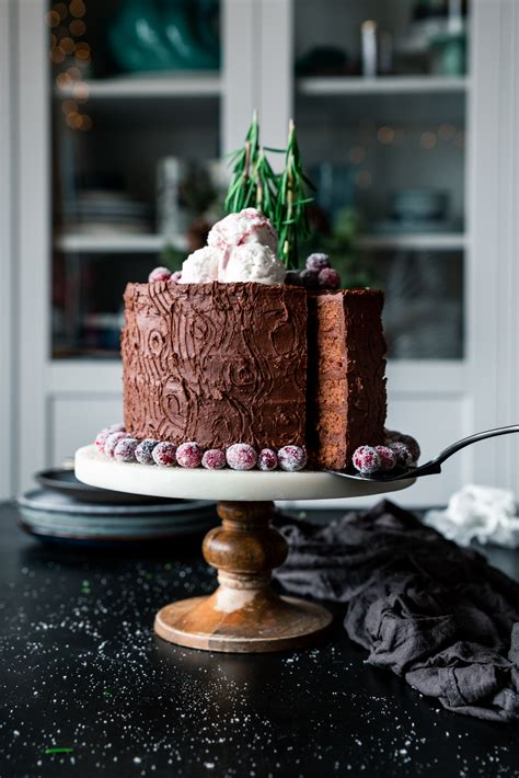 double chocolate tree stump cake with sugared cranberries a simple pantry