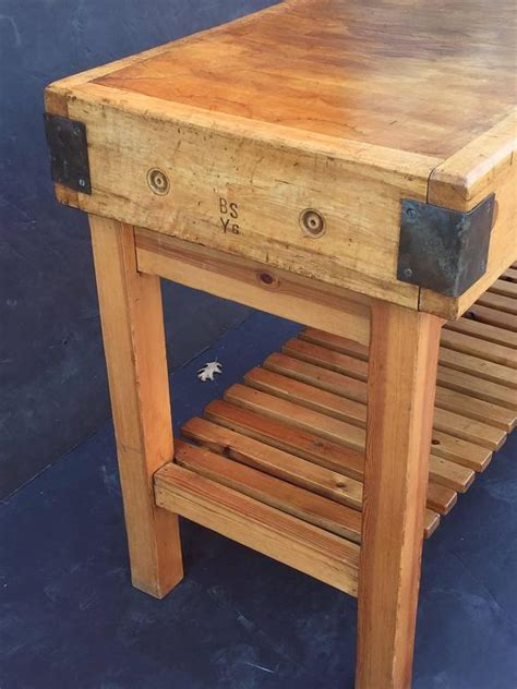 Large French Butcher's Block On Stand At 1stdibs