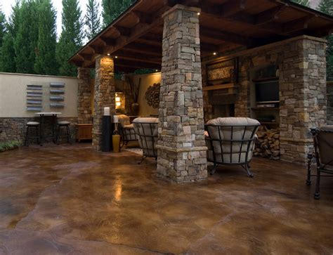 Patio Acid Stain by Concrete Outdoor Living Spaces In Arkansas 479 287 8952