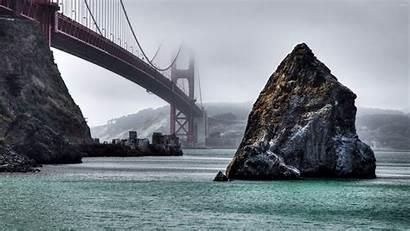 Gate Golden Bridge Foggy Wallpapers Rocks Francisco