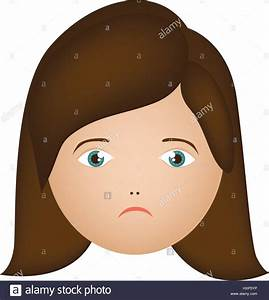 colorful cartoon human female sad face Stock Vector Art ...