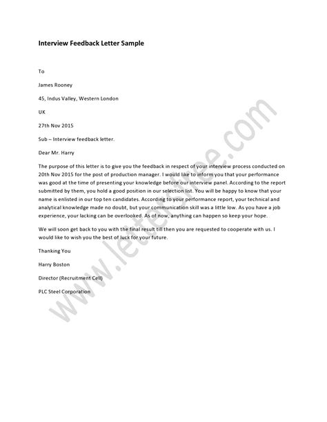 interview feedback letter interview letter sample