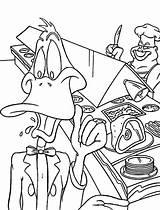 Coloring Restaurant Duck Daffy Netart Working Cartoon Restaurants March Painting sketch template