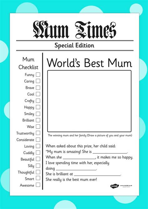 newspaper article template worlds  mum mothers
