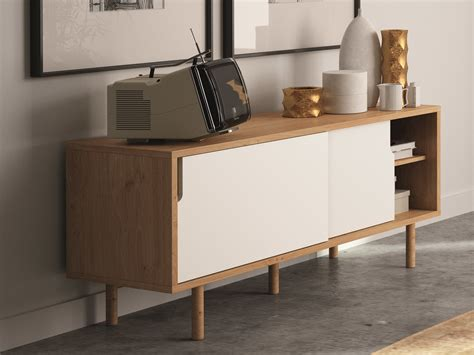 meuble bureau porte coulissante buffet bas meuble tv en bois avec 2 portes coulissantes