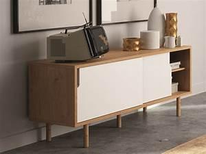 Meuble Tv Buffet : buffet bas meuble tv en bois avec 2 portes coulissantes ~ Teatrodelosmanantiales.com Idées de Décoration