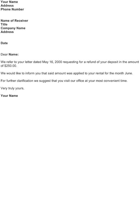 deposit return request letter