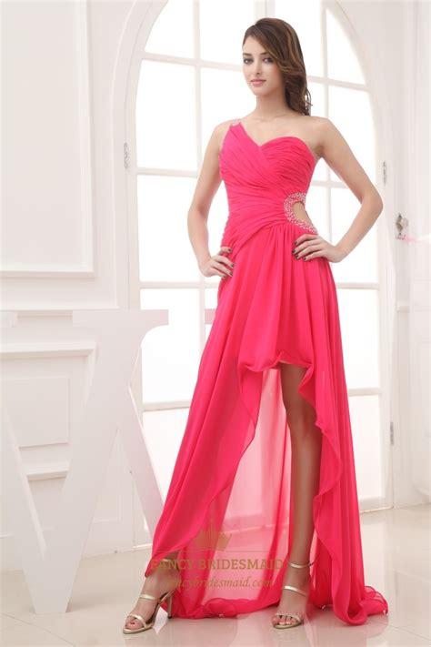 One Shoulder Hot Pink Prom Dress One Shoulder High Low