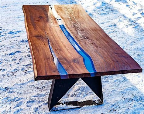 Large Dining Table  River Table Live Edge  Resin Table