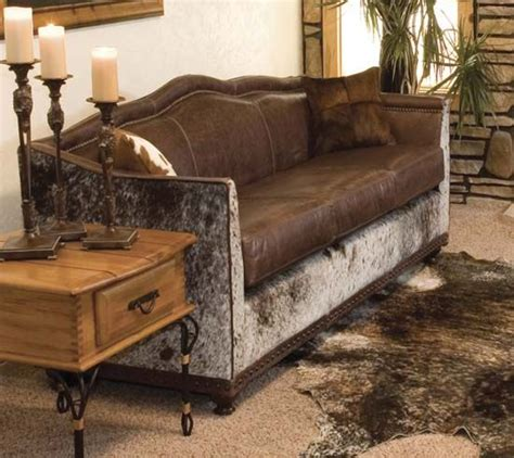 beautiful cowhide  leather wyoming western sofa