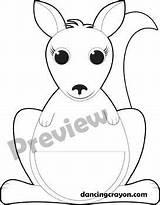 Kangaroo Clip Joey Clipart Pouch Craft Crayon Teacherspayteachers Printable Dancing Australia Pocket Coloring sketch template