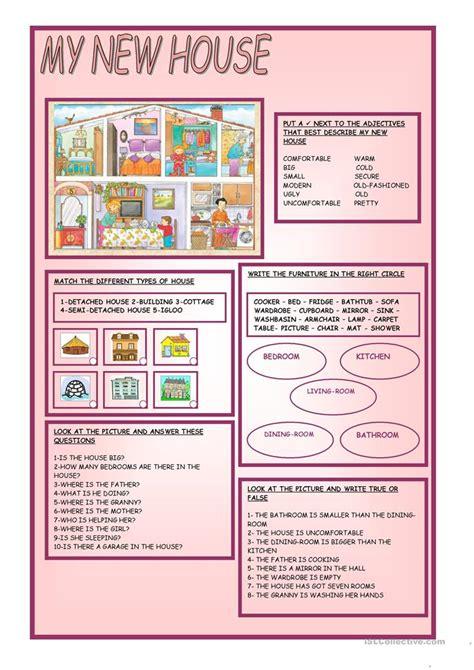 house worksheet  esl printable worksheets