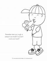 Coloring Pages Sick Germs Spreading Kid Germ Worksheets Preschool Child Colouring Mouth Printable Sheets Crafts Covering Toddlers Health Healthy Sharing sketch template