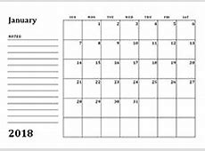 2018 Blank Calendar Templates Download Free Printable