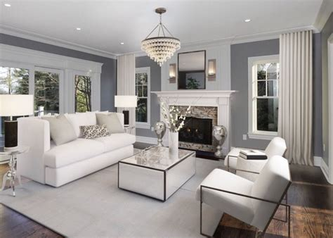 transitional white and grey living room decor