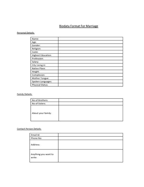Free Matrimonial Resume Format by Biodata Format For Marriage