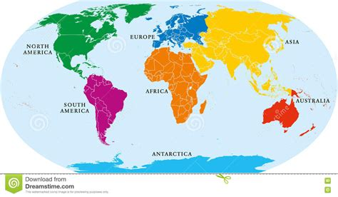 Världskarta För Sju Kontinenter Vektor Illustrationer ...