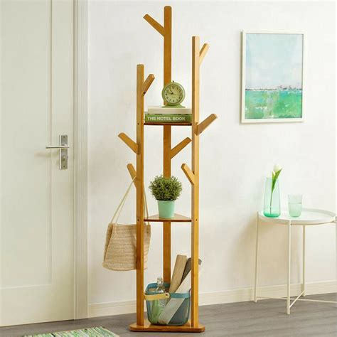 bamboo tree garment clothes coat hat umbrella portable hanger stand rack ebay
