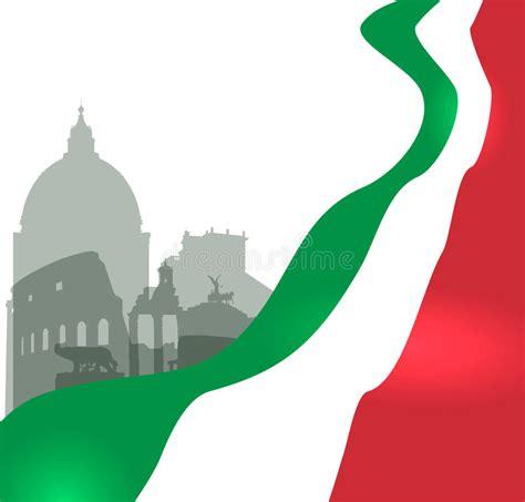 italian flag vector illustration stock rome vector illustration with italian flag stock vector ital