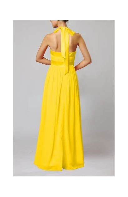 Ribbon Sleeveless Yellow Length Floor Chiffon Guest