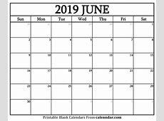 Blank June 2019 Calendar Templates Calenndarcom
