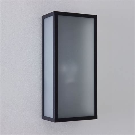 astro messina black with frosted glass outdoor wall light