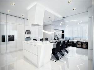 Modern black and white dining room and kitchen with best for Modern dining room black and white