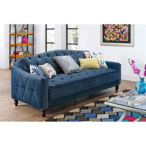 Tufted Futon Sofa Bed Walmart by 9 By Novogratz Vintage Tufted Sofa Sleeper Ii Navy Velour