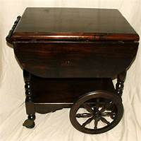antique tea cart Antique Wooden Drop Leaf Wagon Wheel Serving Tea Coffee ...