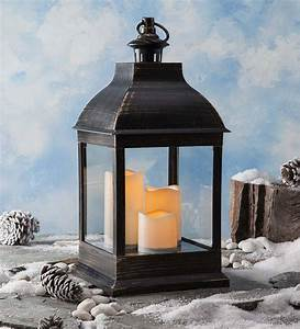 Short, Outdoor, Lantern, With, Led, Candles