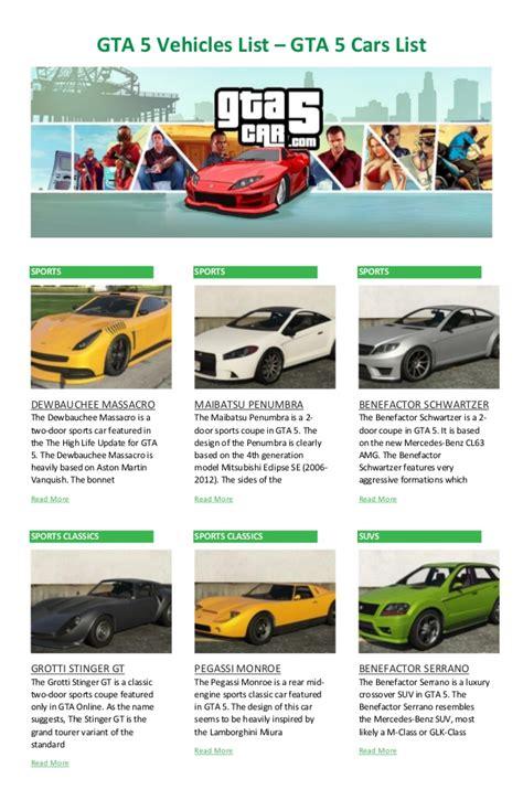 Cars List by Gta 5 Vehicles List