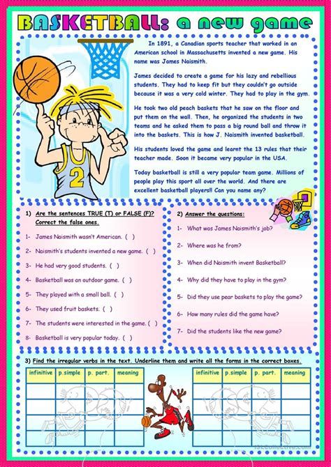 Basketball A New Game Worksheet  Free Esl Printable Worksheets Made By Teachers