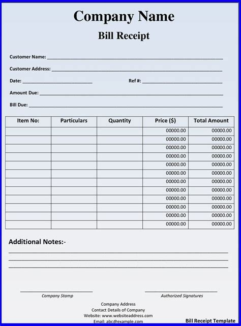 bill receipt template free hotel bill receipt template ideas for the house