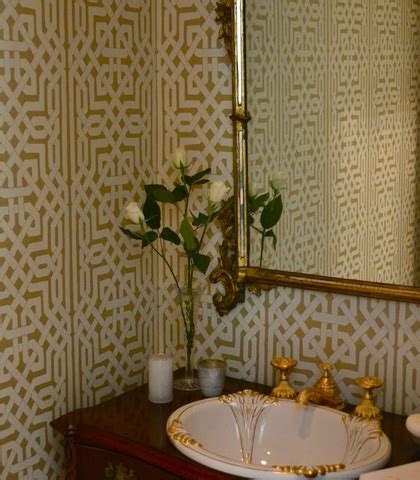 bathrooms trellis wallpaper white  gold bathroom ideas