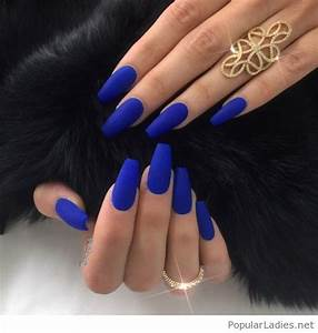 Bright blue long nails