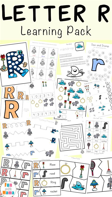 letter r worksheets and printable preschool activities 208 | Letter R Learning Pack Pin