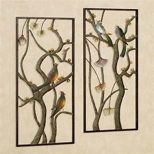 Asian garden metal wall panel art set for Asian wall art