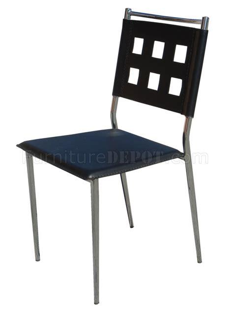 black vinyl set of 4 modern dining chairs w chrome frame
