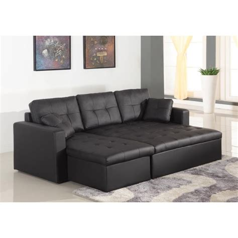 canapé d 39 angle lit convertible girly noir en simili cuir