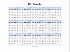 2031 Calendar Blank Printable Calendar Template in PDF