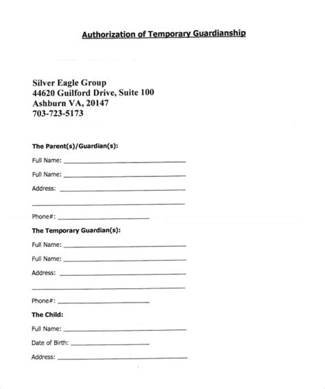 temporary guardianship form templates
