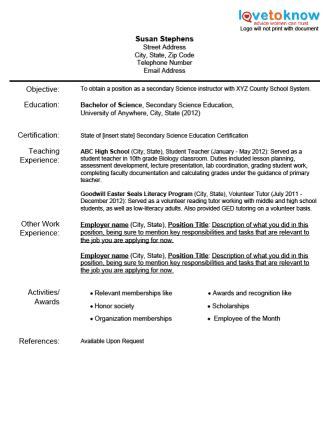 sample teacher resume  experience south florida
