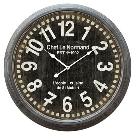 W indoor modern analog wall clock glass/plastic black. Chef Le Normand 23.5 in. Wall Clock | Wall clock ...