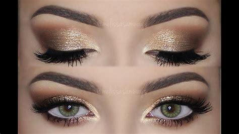 make up gold soft smokey gold glitter make up tutorial