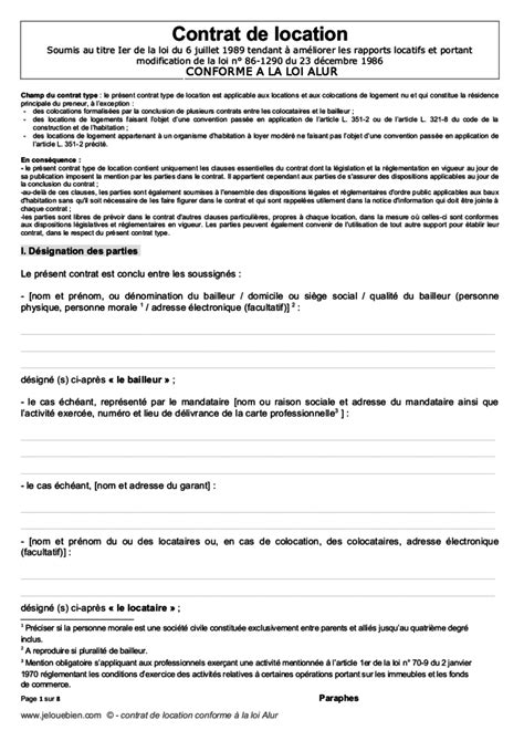 Exemple Contrat De Location Meublee Contrat De Location Meublee Gratuit 19720 Sprint Co
